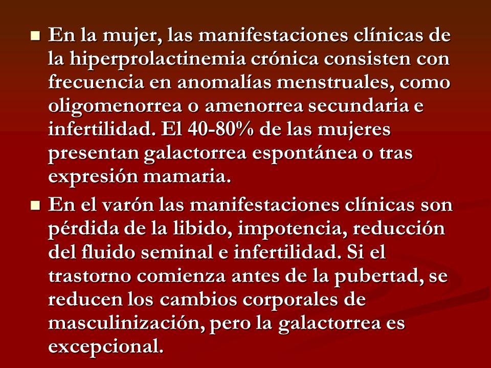 En la mujer, las manifestaciones clínicas de la hiperprolactinemia crónica consisten con frecuencia en anomalías menstruales, como oligomenorrea o ame
