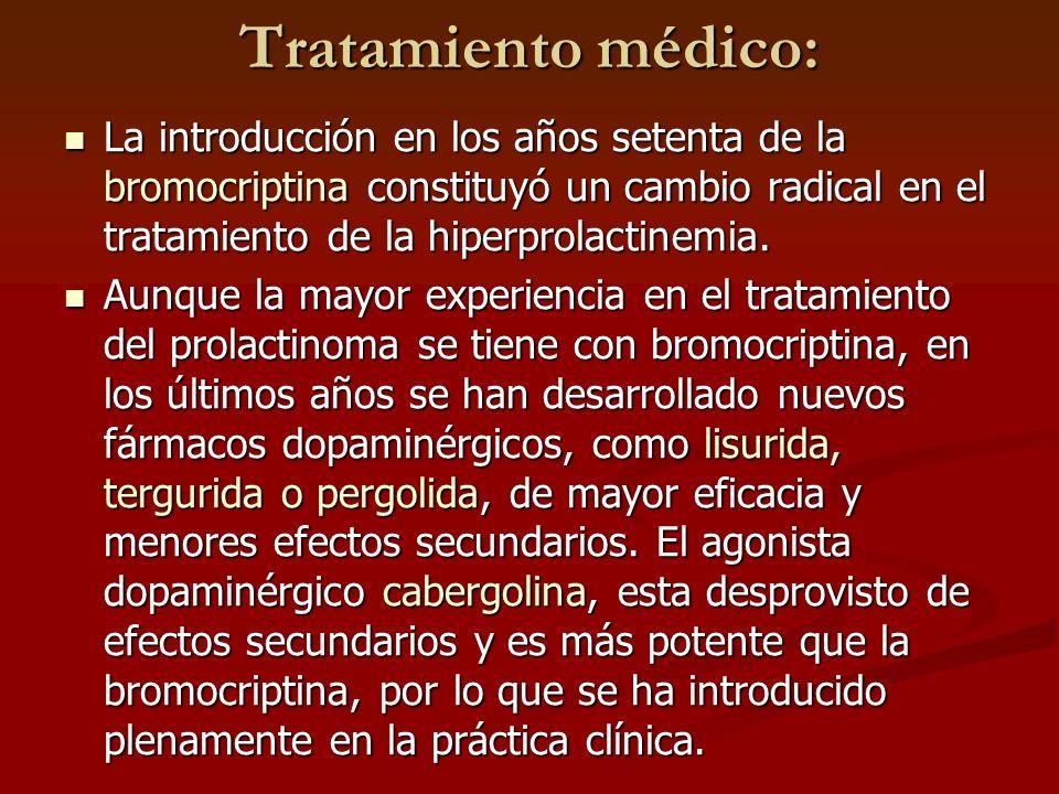 Tratamiento médico: La introducción en los años setenta de la bromocriptina constituyó un cambio radical en el tratamiento de la hiperprolactinemia. L