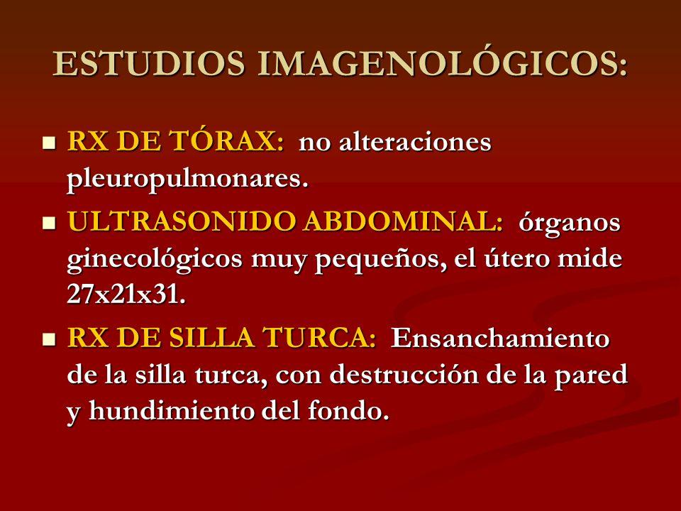 ESTUDIOS IMAGENOLÓGICOS: RX DE TÓRAX: no alteraciones pleuropulmonares. RX DE TÓRAX: no alteraciones pleuropulmonares. ULTRASONIDO ABDOMINAL: órganos