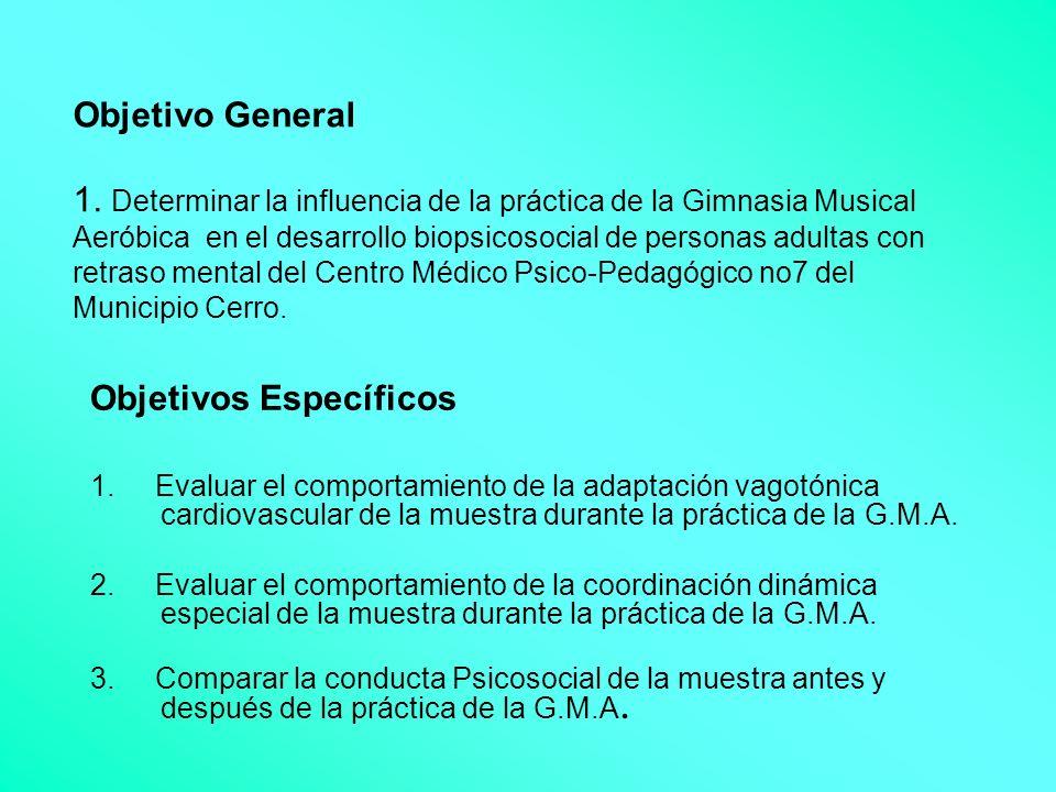 Objetivo General 1. Determinar la influencia de la práctica de la Gimnasia Musical Aeróbica en el desarrollo biopsicosocial de personas adultas con re