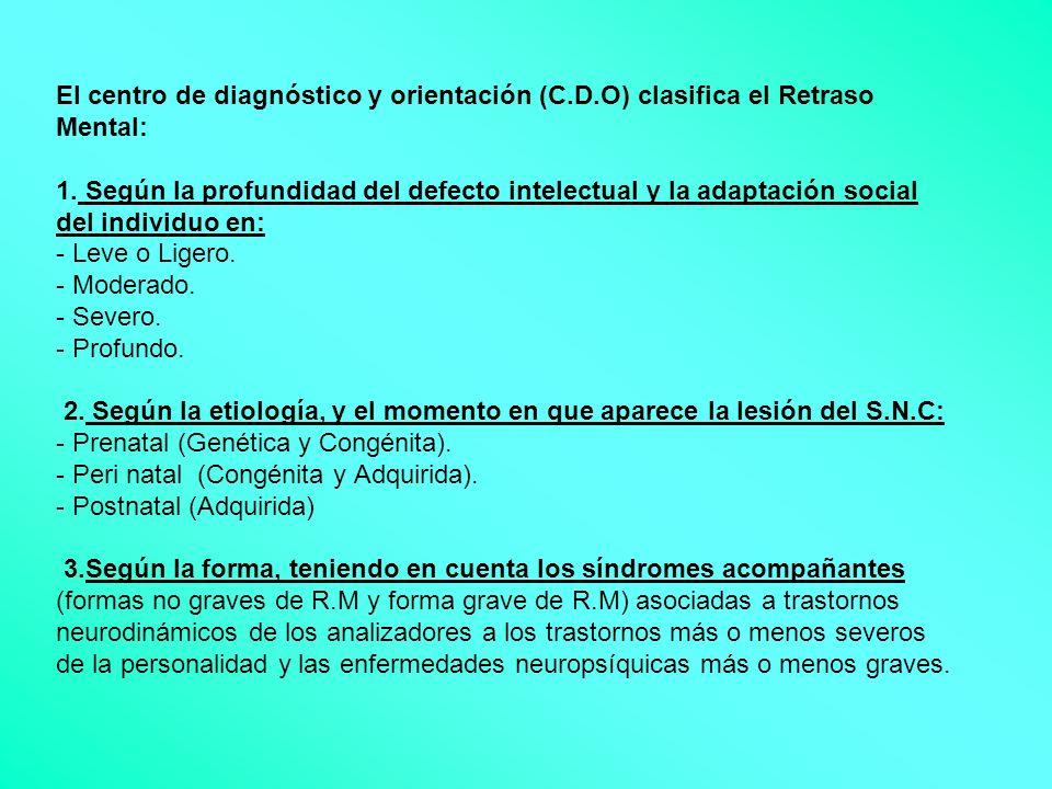 El centro de diagnóstico y orientación (C.D.O) clasifica el Retraso Mental: 1. Según la profundidad del defecto intelectual y la adaptación social del
