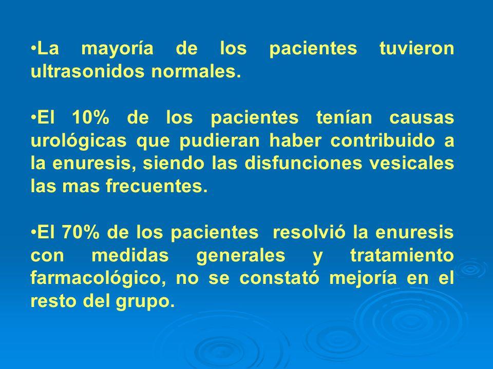 La mayoría de los pacientes tuvieron ultrasonidos normales. El 10% de los pacientes tenían causas urológicas que pudieran haber contribuido a la enure