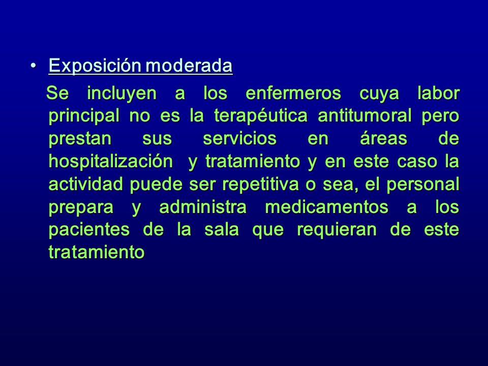 Exposición moderadaExposición moderada Se incluyen a los enfermeros cuya labor principal no es la terapéutica antitumoral pero prestan sus servicios e