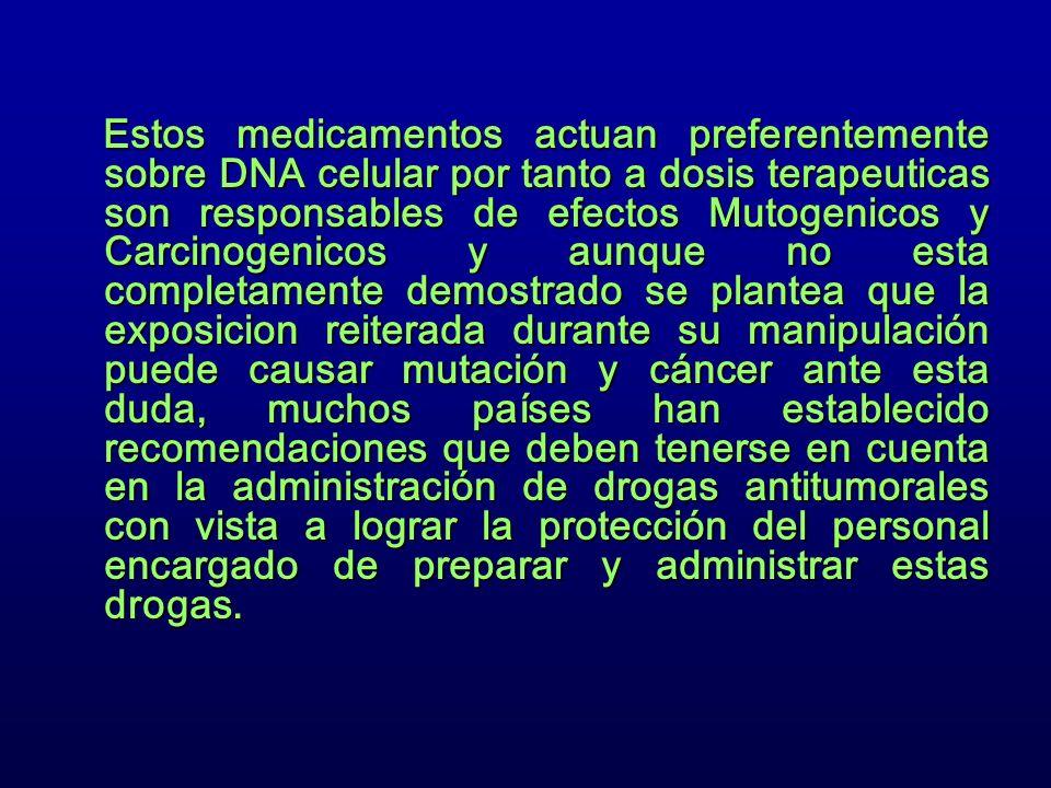 Estos medicamentos actuan preferentemente sobre DNA celular por tanto a dosis terapeuticas son responsables de efectos Mutogenicos y Carcinogenicos y