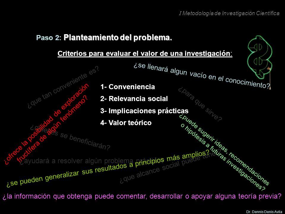I Metodología de Investigación Científica Dr. Dennis Denis Avila 3- Implicaciones prácticas ¿ayudará a resolver algún problema práctico? Criterios par
