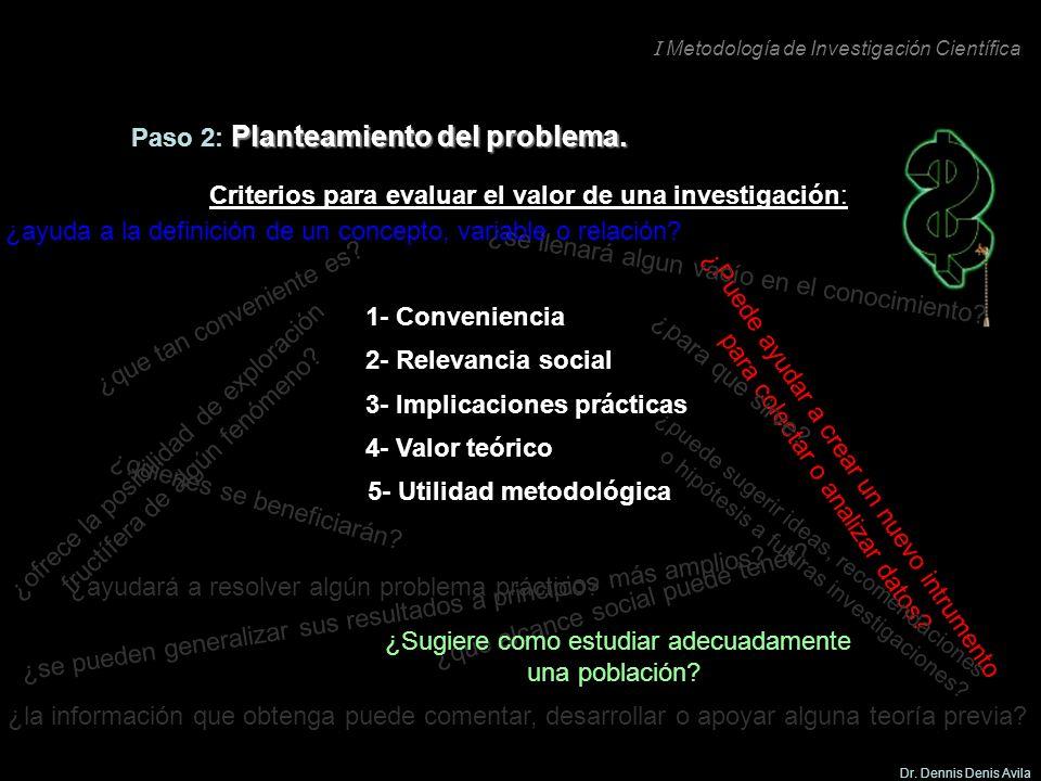 I Metodología de Investigación Científica Dr. Dennis Denis Avila 5- Utilidad metodológica ¿Puede ayudar a crear un nuevo intrumento para colectar o an