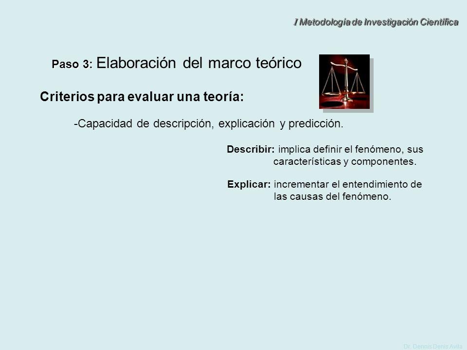 I Metodología de Investigación Científica Dr. Dennis Denis Avila Paso 3: Paso 3: Elaboración del marco teórico Criterios para evaluar una teoría: -Cap