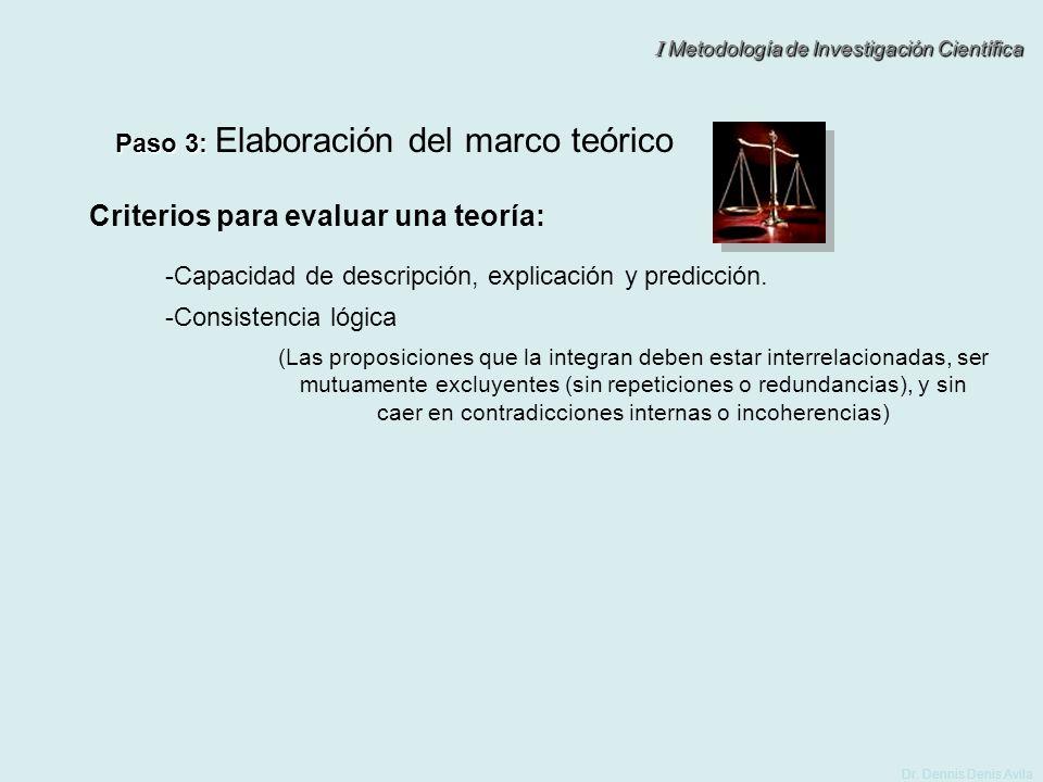 I Metodología de Investigación Científica Dr. Dennis Denis Avila Paso 3: Paso 3: Elaboración del marco teórico (Las proposiciones que la integran debe
