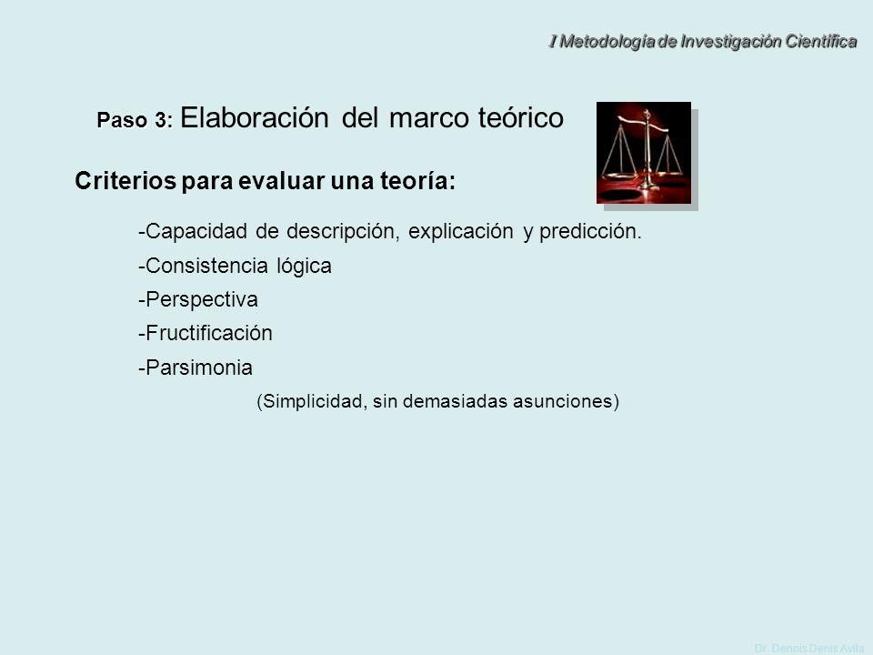 I Metodología de Investigación Científica Dr. Dennis Denis Avila Paso 3: Paso 3: Elaboración del marco teórico (Simplicidad, sin demasiadas asunciones