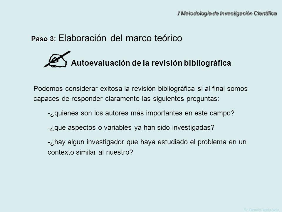 I Metodología de Investigación Científica Dr. Dennis Denis Avila Autoevaluación de la revisión bibliográfica Podemos considerar exitosa la revisión bi