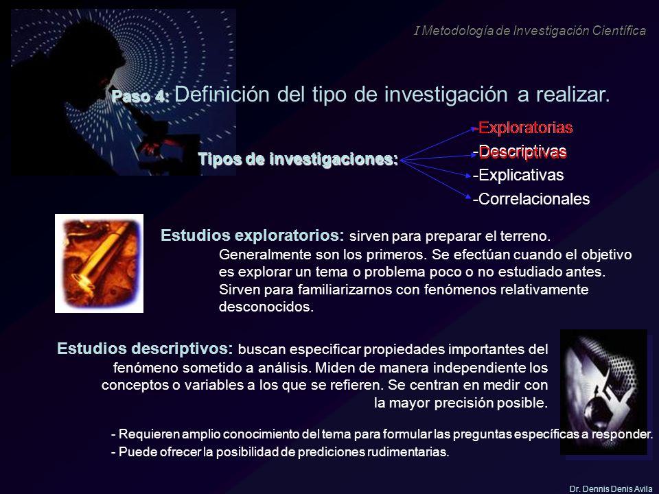 I Metodología de Investigación Científica Dr. Dennis Denis Avila Tipos de investigaciones: -Exploratorias -Descriptivas -Explicativas -Correlacionales