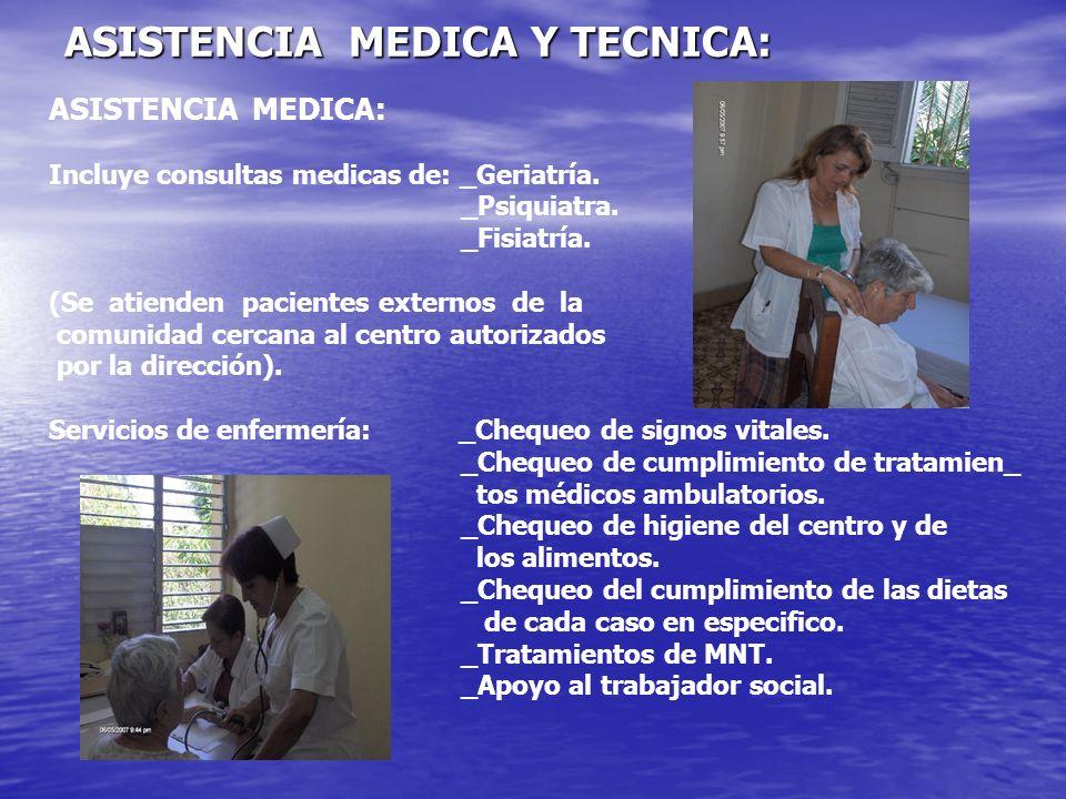 ASISTENCIA MEDICA Y TECNICA: ASISTENCIA MEDICA: Incluye consultas medicas de: _Geriatría. _Psiquiatra. _Fisiatría. (Se atienden pacientes externos de