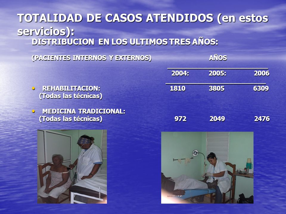 TOTALIDAD DE CASOS ATENDIDOS (en estos servicios): DISTRIBUCION EN LOS ULTIMOS TRES AÑOS: (PACIENTES INTERNOS Y EXTERNOS) AÑOS _______________________