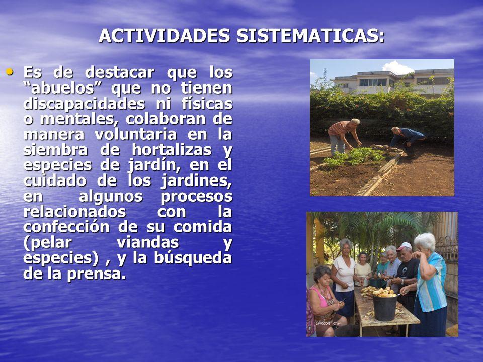 ACTIVIDADES SISTEMATICAS: Es de destacar que los abuelos que no tienen discapacidades ni físicas o mentales, colaboran de manera voluntaria en la siem