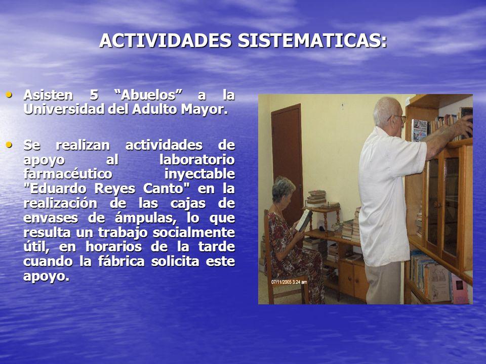 ACTIVIDADES SISTEMATICAS: Asisten 5 Abuelos a la Universidad del Adulto Mayor. Asisten 5 Abuelos a la Universidad del Adulto Mayor. Se realizan activi