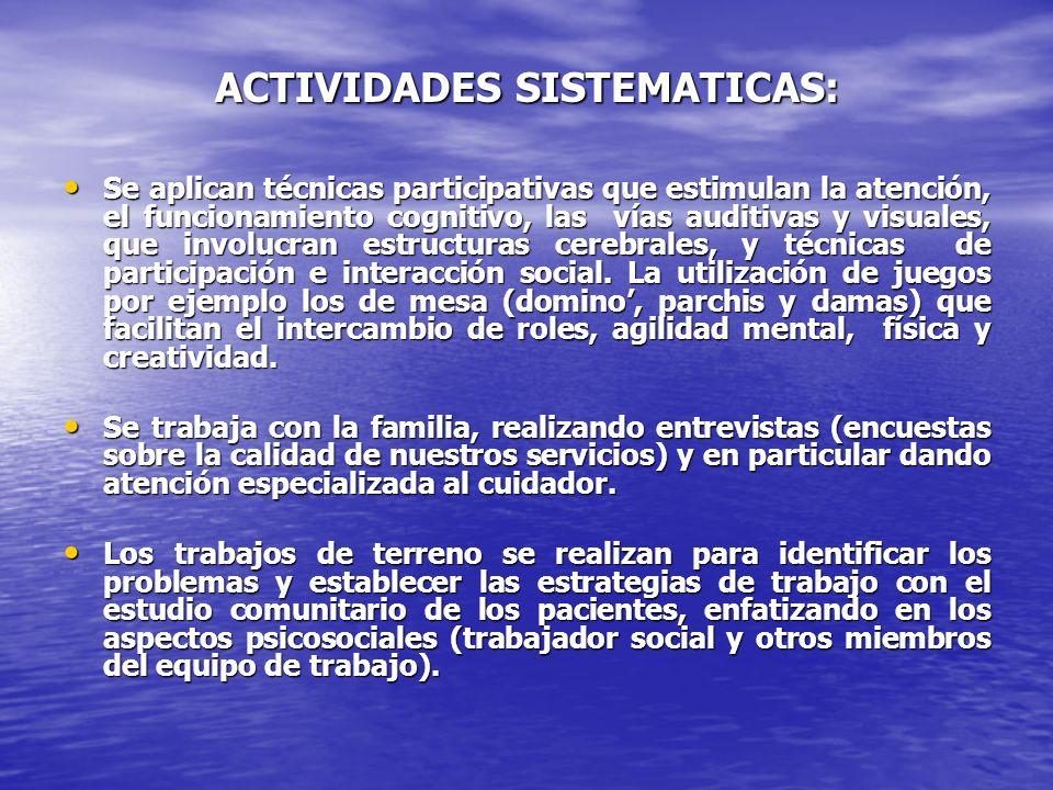 ACTIVIDADES SISTEMATICAS: Se aplican técnicas participativas que estimulan la atención, el funcionamiento cognitivo, las vías auditivas y visuales, qu
