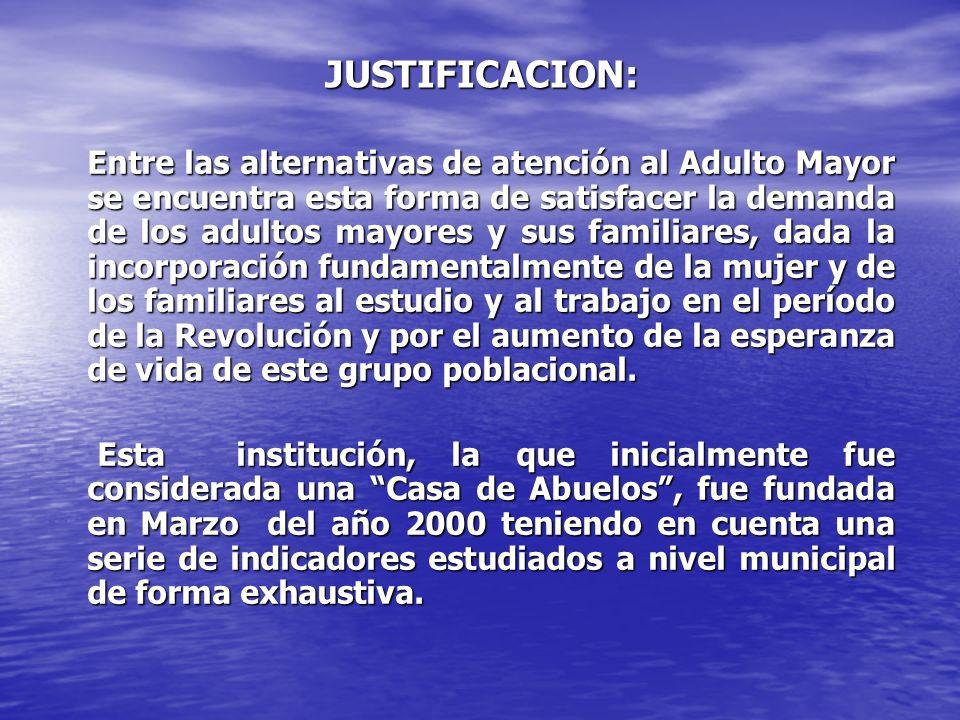 JUSTIFICACION: Entre las alternativas de atención al Adulto Mayor se encuentra esta forma de satisfacer la demanda de los adultos mayores y sus famili
