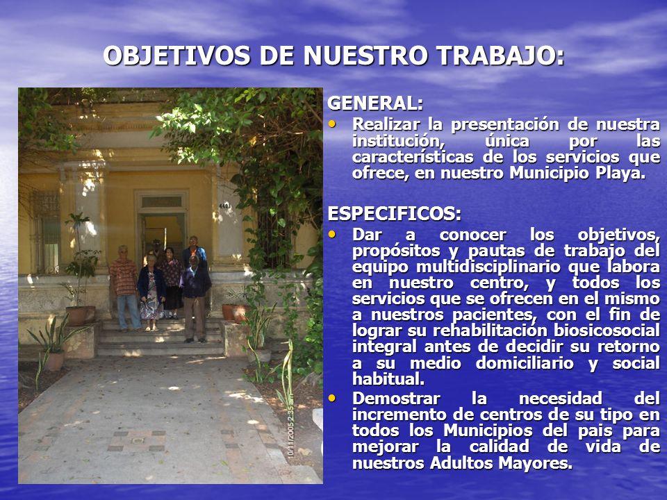 OBJETIVOS DE NUESTRO TRABAJO: GENERAL: Realizar la presentación de nuestra institución, única por las características de los servicios que ofrece, en