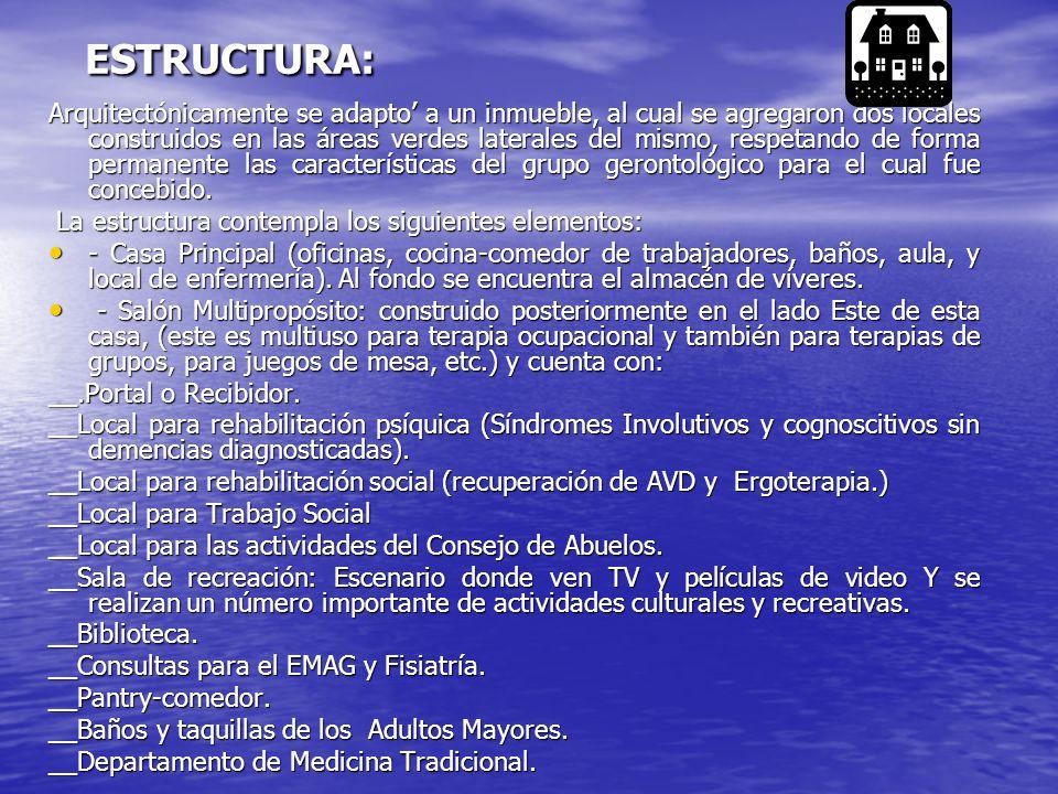 ESTRUCTURA: ESTRUCTURA: Arquitectónicamente se adapto a un inmueble, al cual se agregaron dos locales construidos en las áreas verdes laterales del mi
