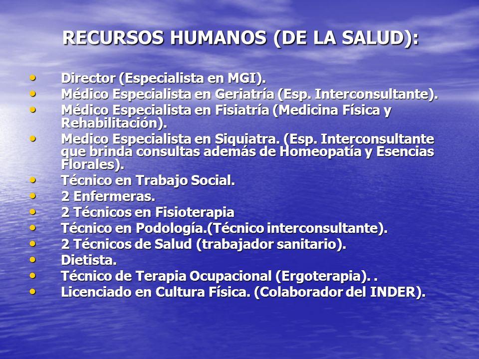 RECURSOS HUMANOS (DE LA SALUD): RECURSOS HUMANOS (DE LA SALUD): Director (Especialista en MGI). Director (Especialista en MGI). Médico Especialista en