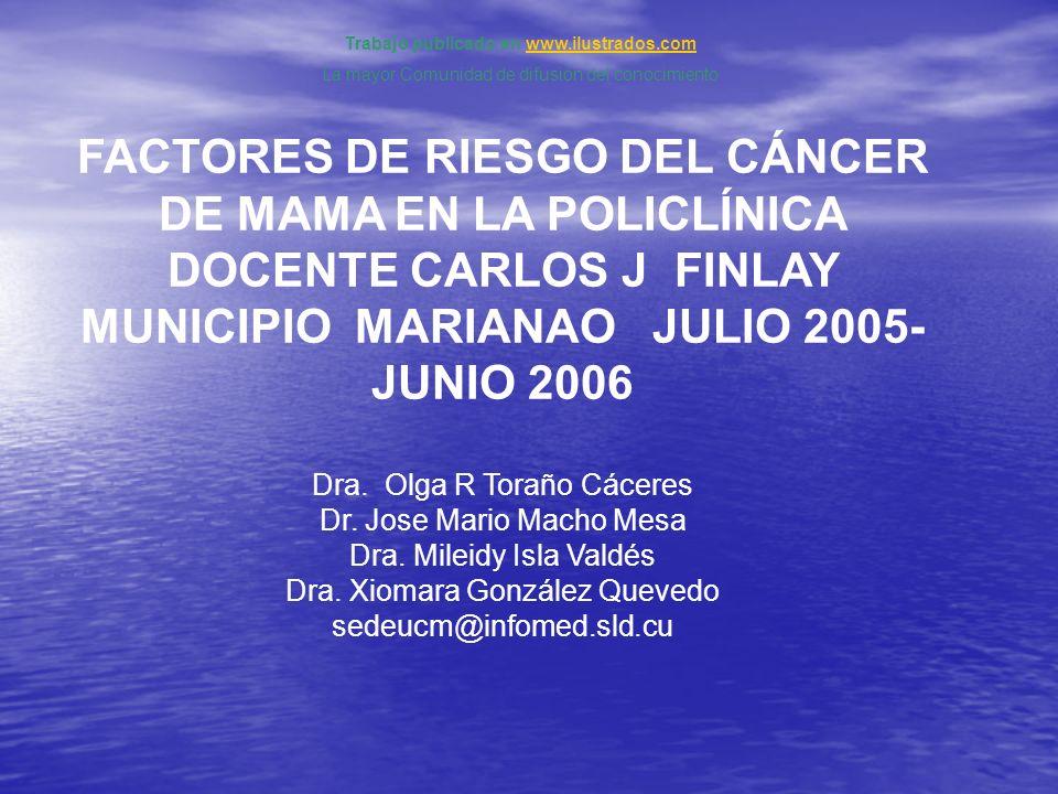 FACTORES DE RIESGO DEL CÁNCER DE MAMA EN LA POLICLÍNICA DOCENTE CARLOS J FINLAY MUNICIPIO MARIANAO JULIO 2005- JUNIO 2006 Dra. Olga R Toraño Cáceres D