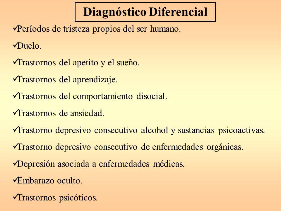 Trastornos Depresivos Trastornos Comportamiento disocial. Ansiedad. Déficit de atención. Ingestión de sustancias Psicoactivas. Enfermedades médicas Má