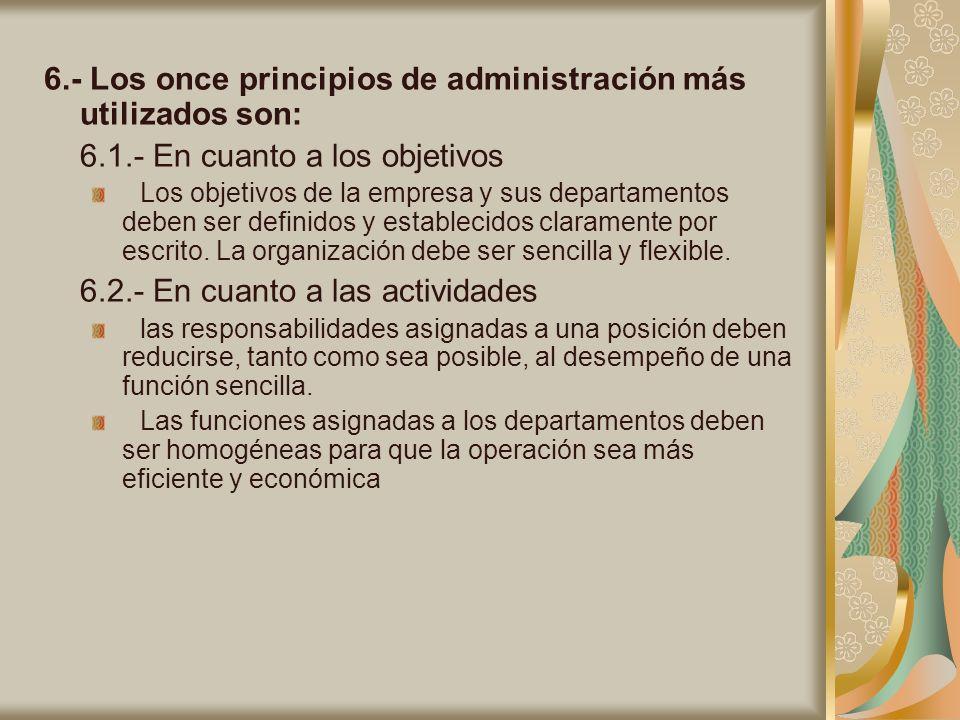 6.- Los once principios de administración más utilizados son: 6.1.- En cuanto a los objetivos Los objetivos de la empresa y sus departamentos deben se