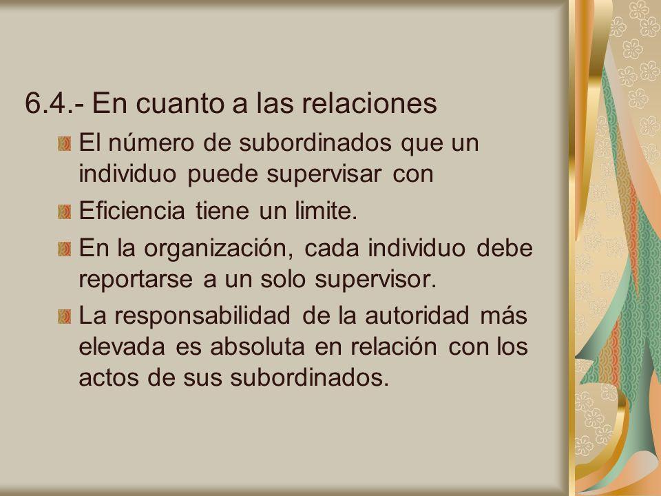 6.4.- En cuanto a las relaciones El número de subordinados que un individuo puede supervisar con Eficiencia tiene un limite. En la organización, cada