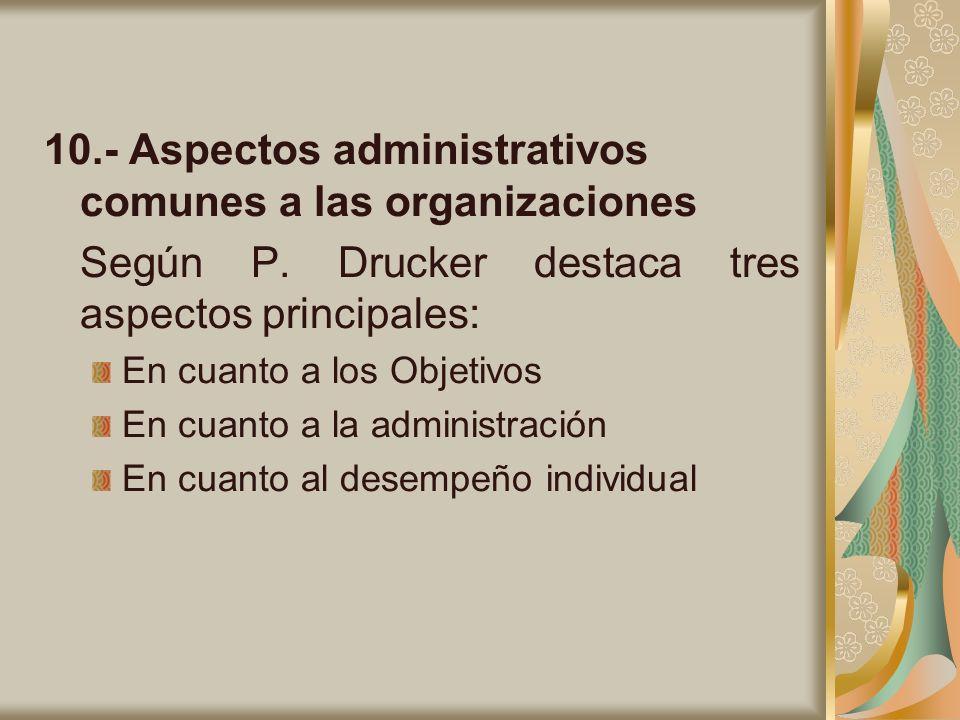 10.- Aspectos administrativos comunes a las organizaciones Según P. Drucker destaca tres aspectos principales: En cuanto a los Objetivos En cuanto a l