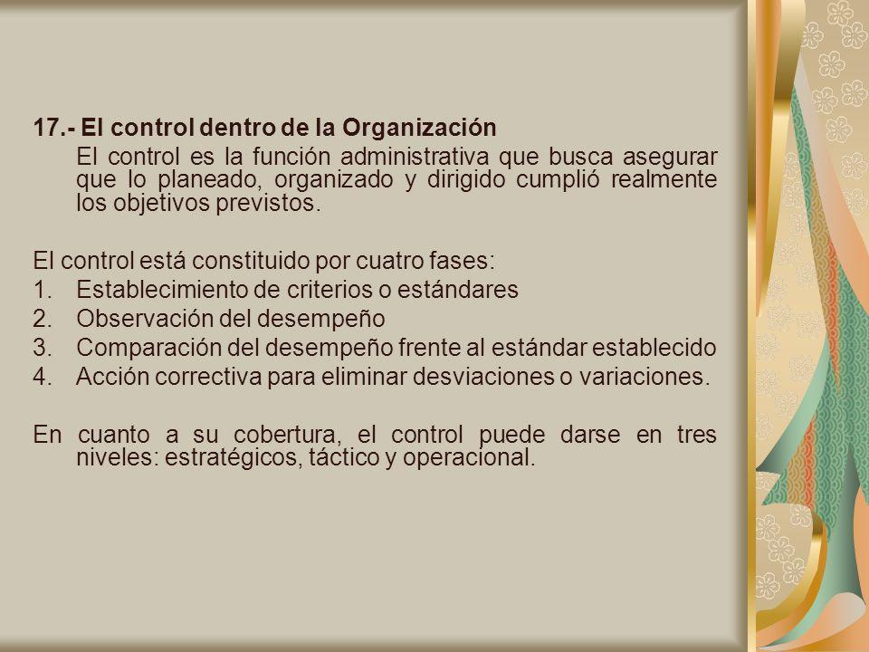 17.- El control dentro de la Organización El control es la función administrativa que busca asegurar que lo planeado, organizado y dirigido cumplió re