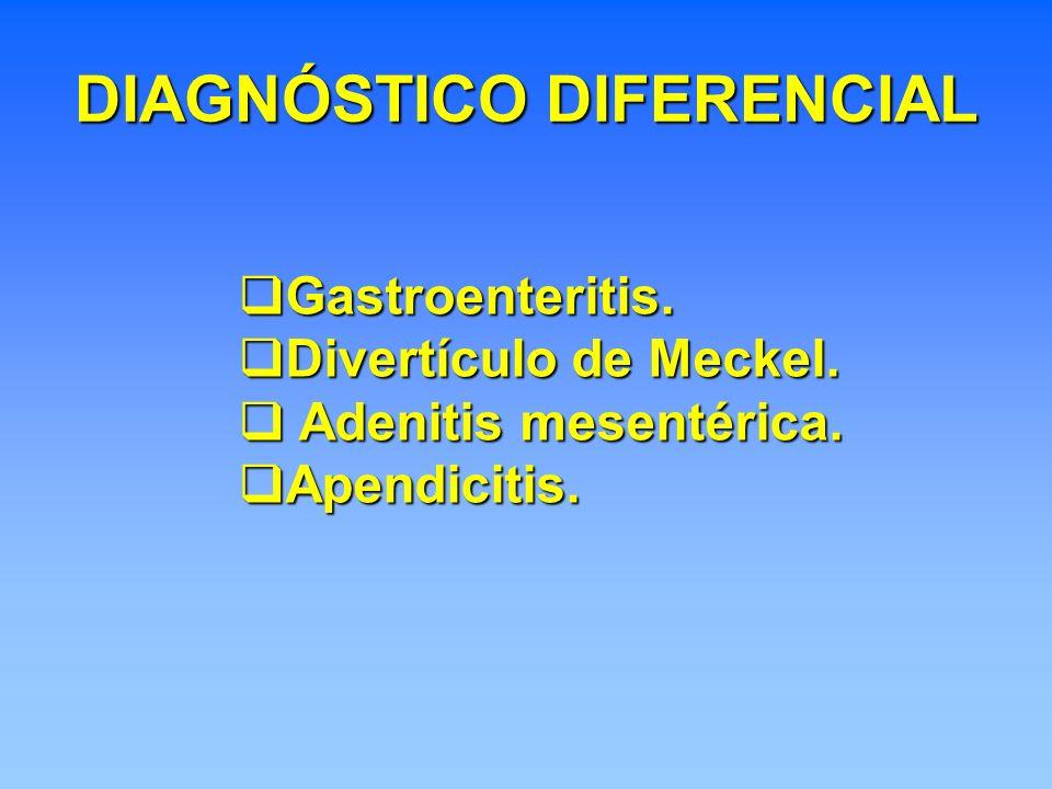 DIAGNÓSTICO DIFERENCIAL Gastroenteritis. Gastroenteritis. Divertículo de Meckel. Divertículo de Meckel. Adenitis mesentérica. Adenitis mesentérica. Ap