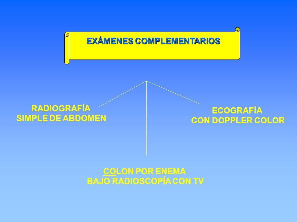 RADIOGRAFÍA SIMPLE DE ABDOMEN ECOGRAFÍA CON DOPPLER COLOR COLON POR ENEMA BAJO RADIOSCOPÍA CON TV EXÁMENES COMPLEMENTARIOS