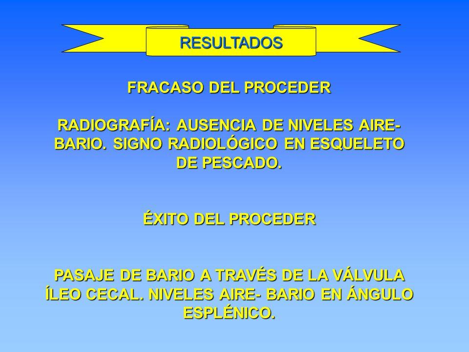 FRACASO DEL PROCEDER RADIOGRAFÍA: AUSENCIA DE NIVELES AIRE- BARIO. SIGNO RADIOLÓGICO EN ESQUELETO DE PESCADO. ÉXITO DEL PROCEDER PASAJE DE BARIO A TRA
