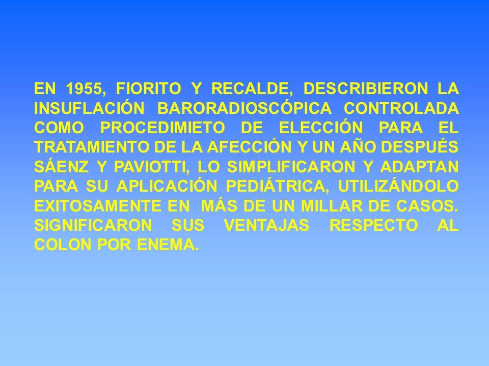 EN 1955, FIORITO Y RECALDE, DESCRIBIERON LA INSUFLACIÓN BARORADIOSCÓPICA CONTROLADA COMO PROCEDIMIETO DE ELECCIÓN PARA EL TRATAMIENTO DE LA AFECCIÓN Y