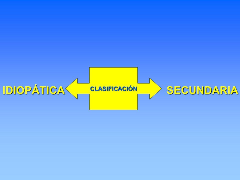 IDIOPÁTICASECUNDARIA CLASIFICACIÓN