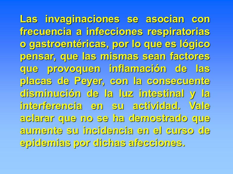 Las invaginaciones se asocian con frecuencia a infecciones respiratorias o gastroentéricas, por lo que es lógico pensar, que las mismas sean factores