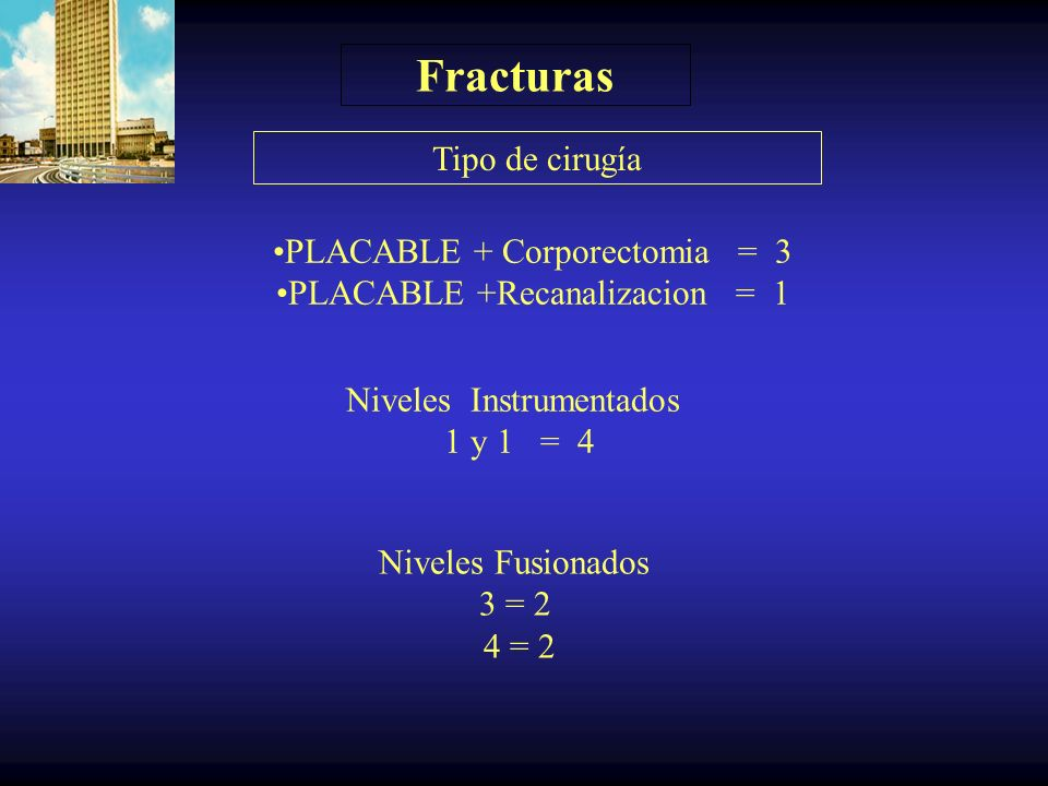 Fracturas Farcy < 19 = 1 Farcy >20 =3 < 50 % = 2 >50 % = 2 Indice sagital ( Farcy ) Ocupación del canal (% )