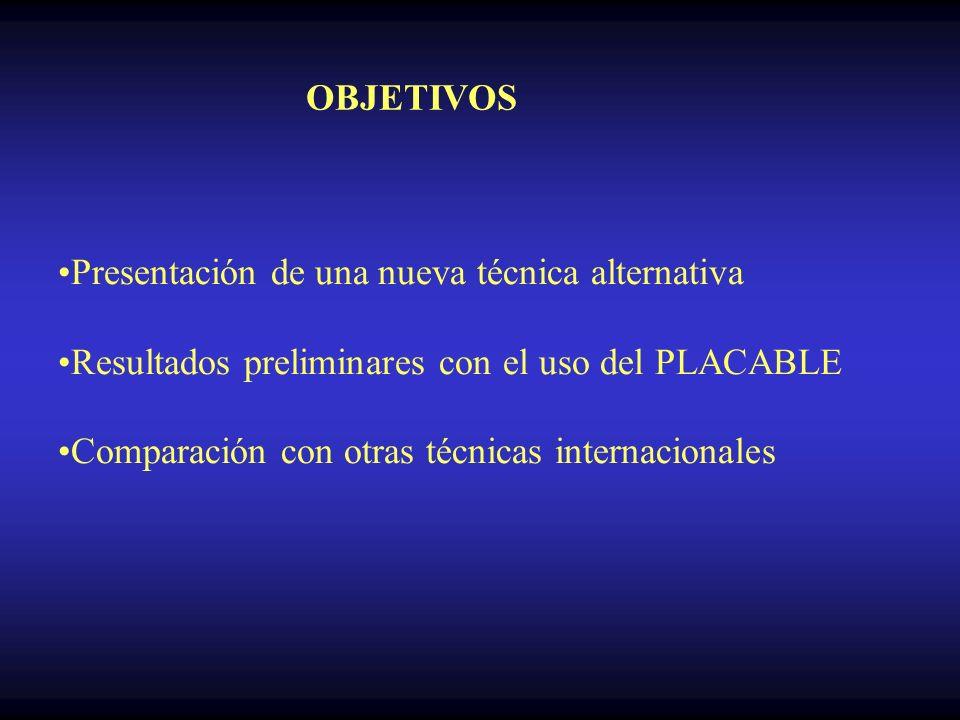 OBJETIVOS Presentación de una nueva técnica alternativa Resultados preliminares con el uso del PLACABLE Comparación con otras técnicas internacionales