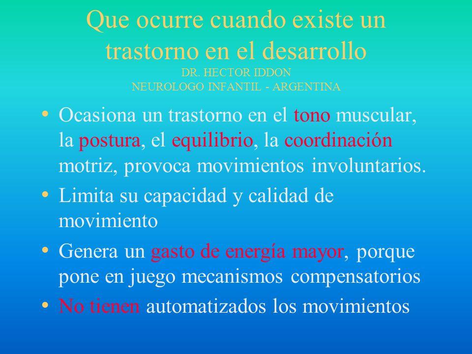 Que ocurre cuando existe un trastorno en el desarrollo DR. HECTOR IDDON NEUROLOGO INFANTIL - ARGENTINA Ocasiona un trastorno en el tono muscular, la p