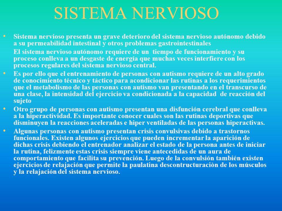 SISTEMA NERVIOSO Sistema nervioso presenta un grave deterioro del sistema nervioso autónomo debido a su permeabilidad intestinal y otros problemas gas
