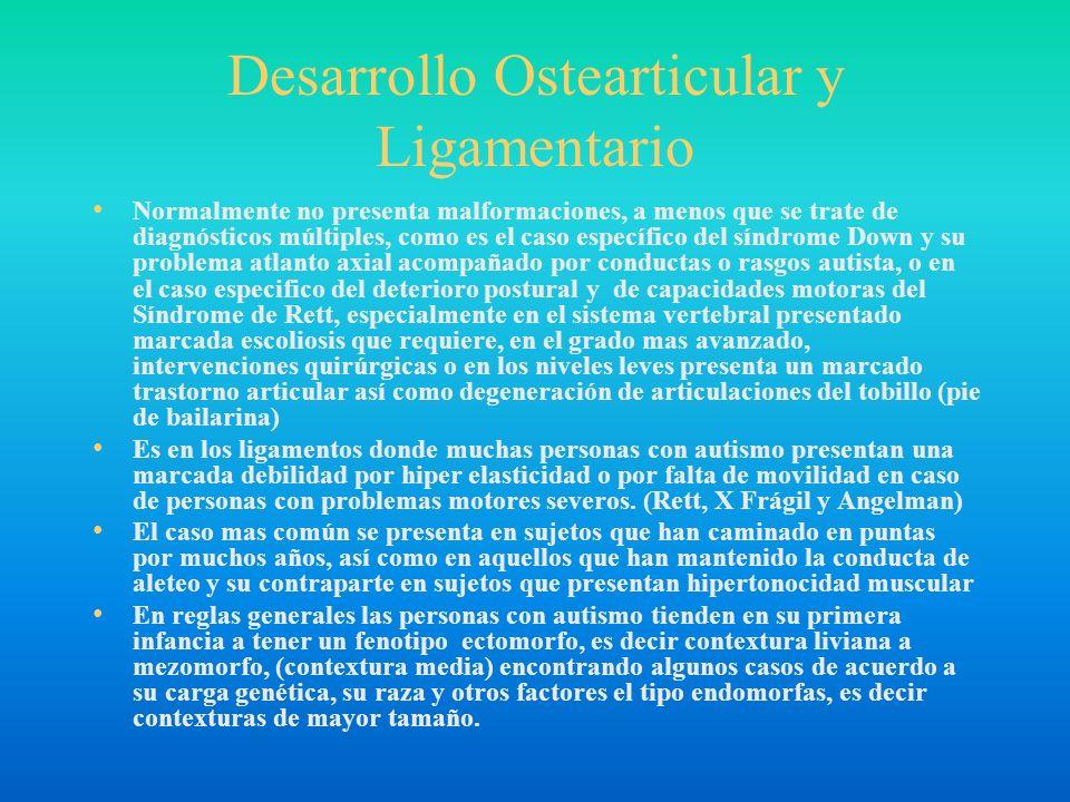 Desarrollo Ostearticular y Ligamentario Normalmente no presenta malformaciones, a menos que se trate de diagnósticos múltiples, como es el caso especí