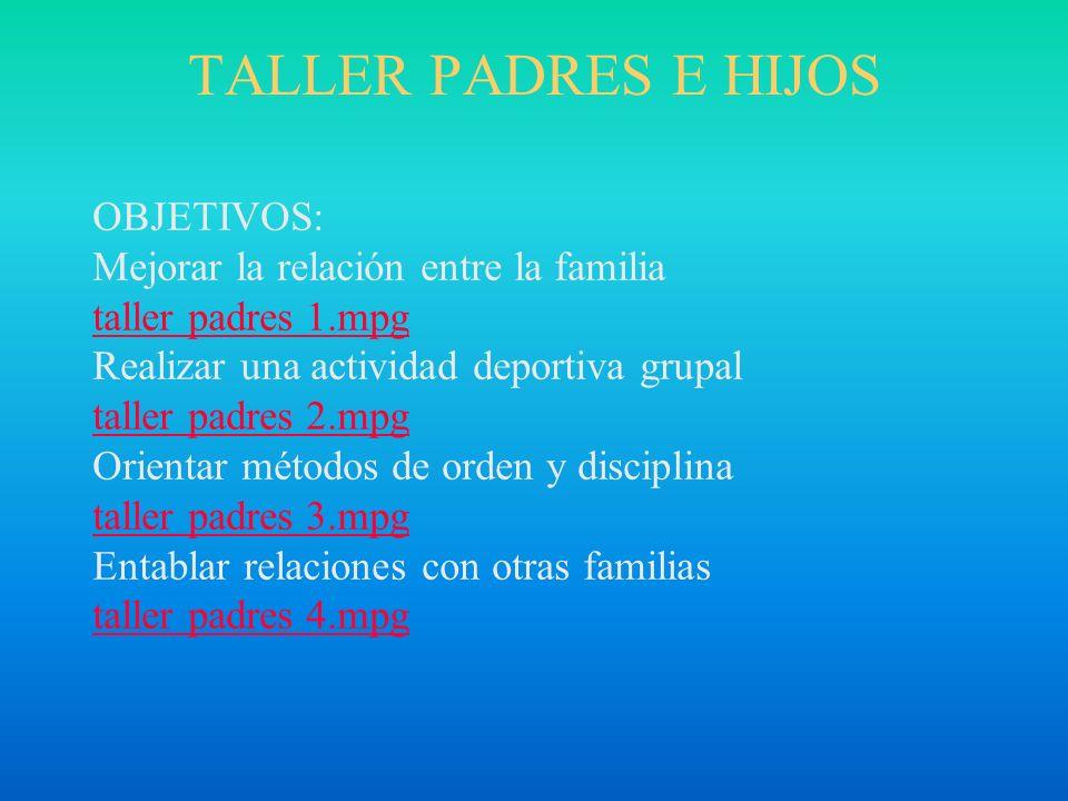 TALLER PADRES E HIJOS OBJETIVOS: Mejorar la relación entre la familia taller padres 1.mpg Realizar una actividad deportiva grupal taller padres 2.mpg