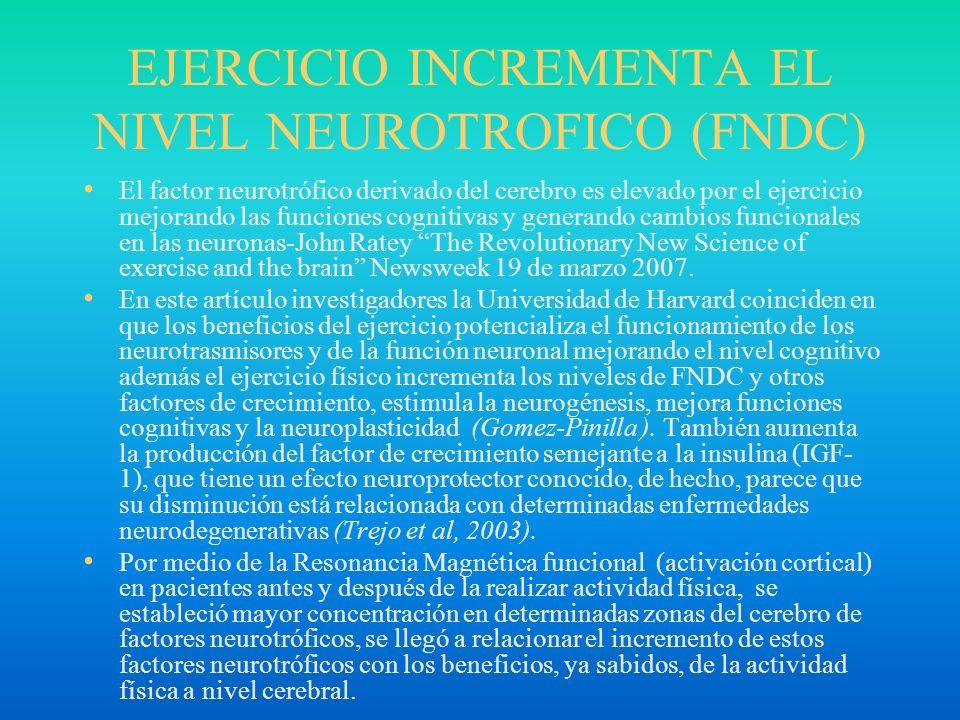 EJERCICIO INCREMENTA EL NIVEL NEUROTROFICO (FNDC) El factor neurotrófico derivado del cerebro es elevado por el ejercicio mejorando las funciones cogn