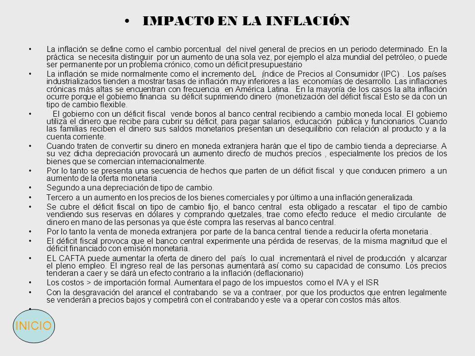 IMPACTO EN LA INFLACIÓN La inflación se define como el cambio porcentual del nivel general de precios en un periodo determinado. En la práctica se nec
