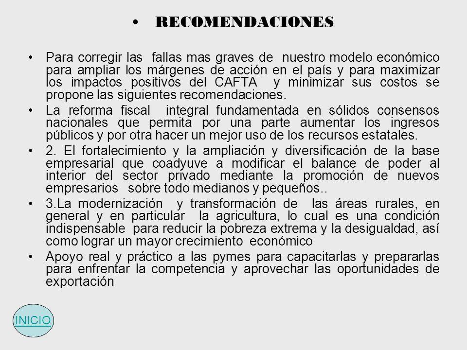 RECOMENDACIONES Para corregir las fallas mas graves de nuestro modelo económico para ampliar los márgenes de acción en el país y para maximizar los im
