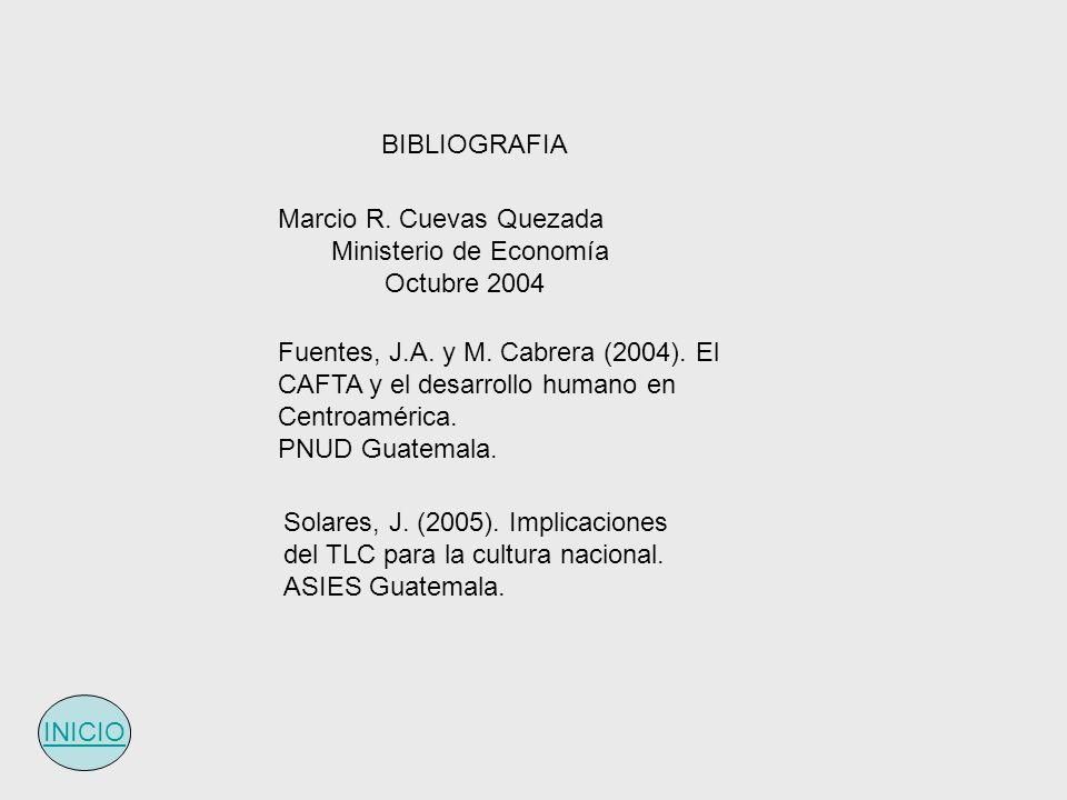 Marcio R. Cuevas Quezada Ministerio de Economía Octubre 2004 Fuentes, J.A. y M. Cabrera (2004). El CAFTA y el desarrollo humano en Centroamérica. PNUD