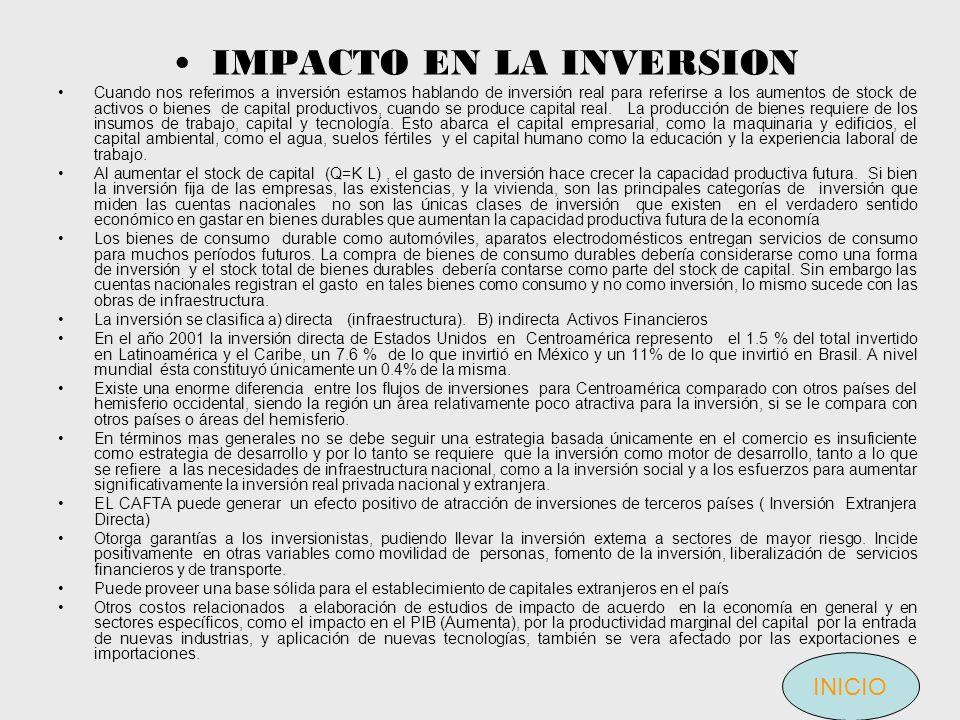 IMPACTO EN LA INVERSION Cuando nos referimos a inversión estamos hablando de inversión real para referirse a los aumentos de stock de activos o bienes