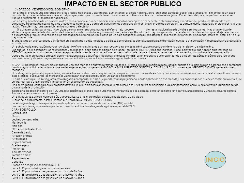 IMPACTO EN EL SECTOR PUBLICO (INGRESOS Y EGRESOS DEL GOBIERNO) un arancel produce una diferencia entre los precios nacionales y extranjeros aumentando