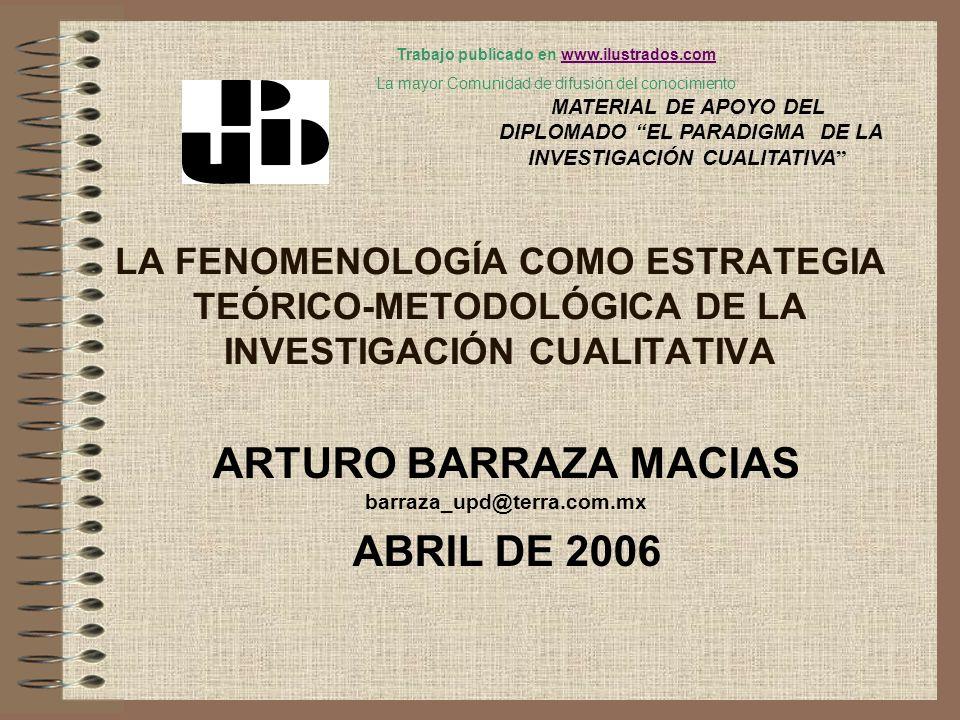 LA FENOMENOLOGÍA COMO ESTRATEGIA TEÓRICO-METODOLÓGICA DE LA INVESTIGACIÓN CUALITATIVA ARTURO BARRAZA MACIAS barraza_upd@terra.com.mx ABRIL DE 2006 MAT