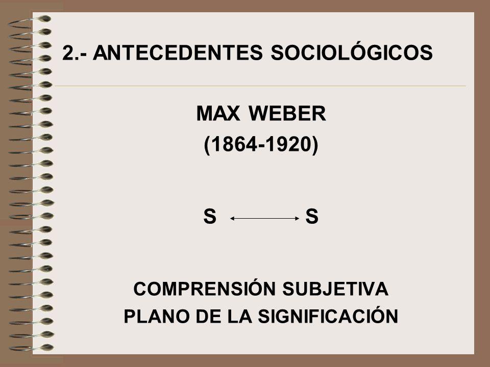 2.- ANTECEDENTES SOCIOLÓGICOS MAX WEBER (1864-1920) S COMPRENSIÓN SUBJETIVA PLANO DE LA SIGNIFICACIÓN